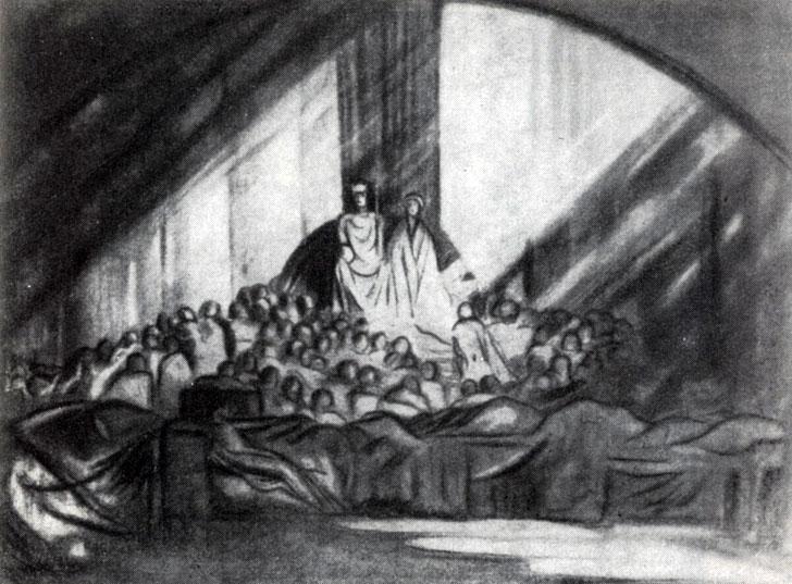 'Гамлет'. Тронный зал, рисунок Г. Крэга