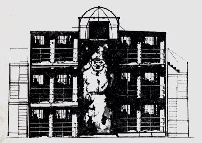 Эскиз декорации Т. Мюллера к спектаклю 'Гопля, мы живем!' Э. Толлера. Постановка Э. Пискатора. Театерам Ноллендорфплатц. 1927 г.